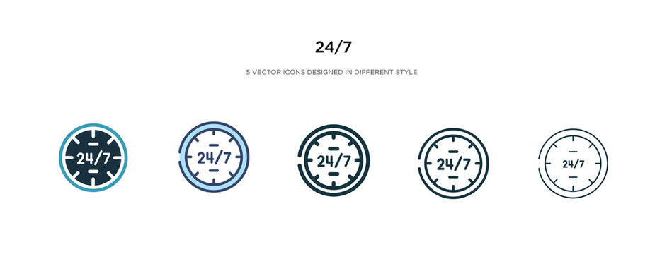 24/7 icon in different style vector illustration. two colored and black 24/7 vector icons designed in filled, outline, line and stroke style can be used for web, mobile, ui