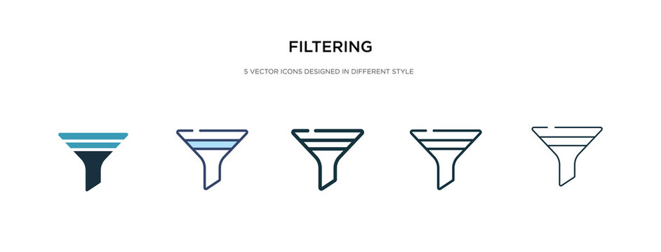 filtering icon in different style vector illustration. two colored and black filtering vector icons designed in filled, outline, line and stroke style can be used for web, mobile, ui