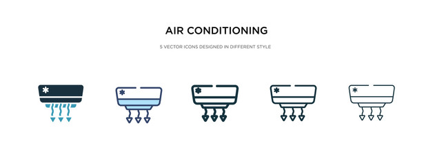 air conditioning icon in different style vector illustration. two colored and black air conditioning vector icons designed in filled, outline, line and stroke style can be used for web, mobile, ui