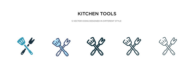 kitchen tools icon in different style vector illustration. two colored and black kitchen tools vector icons designed in filled, outline, line and stroke style can be used for web, mobile, ui