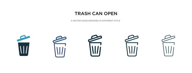 trash can open icon in different style vector illustration. two colored and black trash can open vector icons designed in filled, outline, line and stroke style can be used for web, mobile, ui