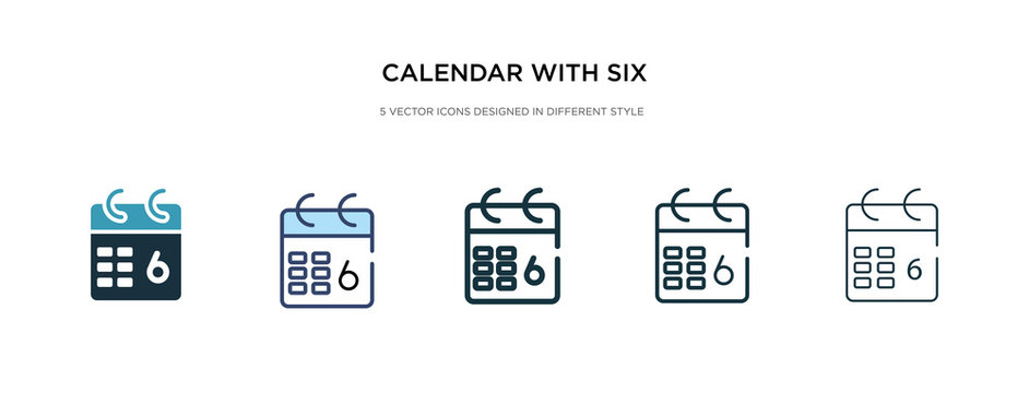 calendar with six days icon in different style vector illustration. two colored and black calendar with six days vector icons designed in filled, outline, line and stroke style can be used for web,