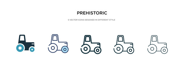 prehistoric icon in different style vector illustration. two colored and black prehistoric vector icons designed in filled, outline, line and stroke style can be used for web, mobile, ui
