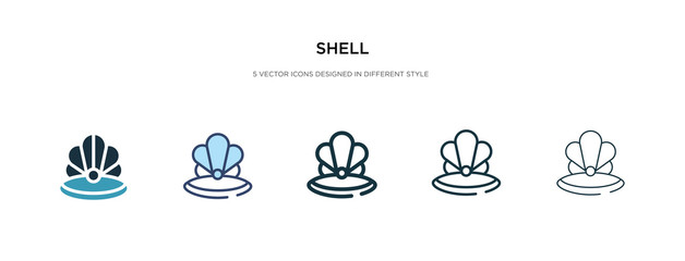 shell icon in different style vector illustration. two colored and black shell vector icons designed in filled, outline, line and stroke style can be used for web, mobile, ui