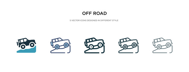 off road icon in different style vector illustration. two colored and black off road vector icons designed in filled, outline, line and stroke style can be used for web, mobile, ui
