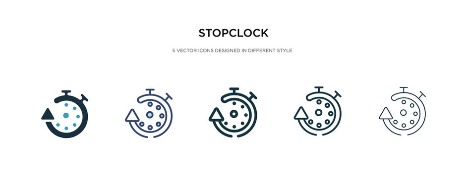stopclock icon in different style vector illustration. two colored and black stopclock vector icons designed in filled, outline, line and stroke style can be used for web, mobile, ui