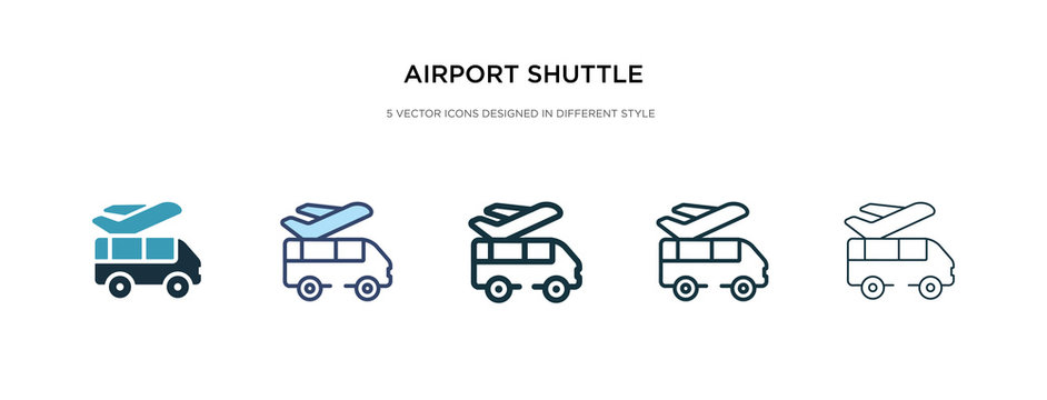 airport shuttle icon in different style vector illustration. two colored and black airport shuttle vector icons designed in filled, outline, line and stroke style can be used for web, mobile, ui