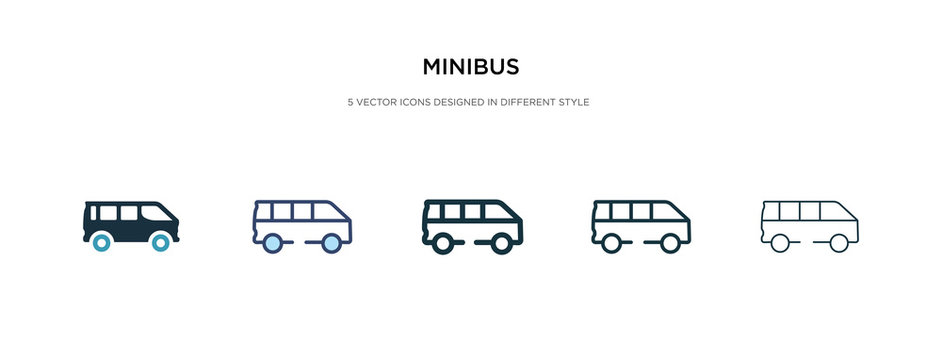 minibus icon in different style vector illustration. two colored and black minibus vector icons designed in filled, outline, line and stroke style can be used for web, mobile, ui