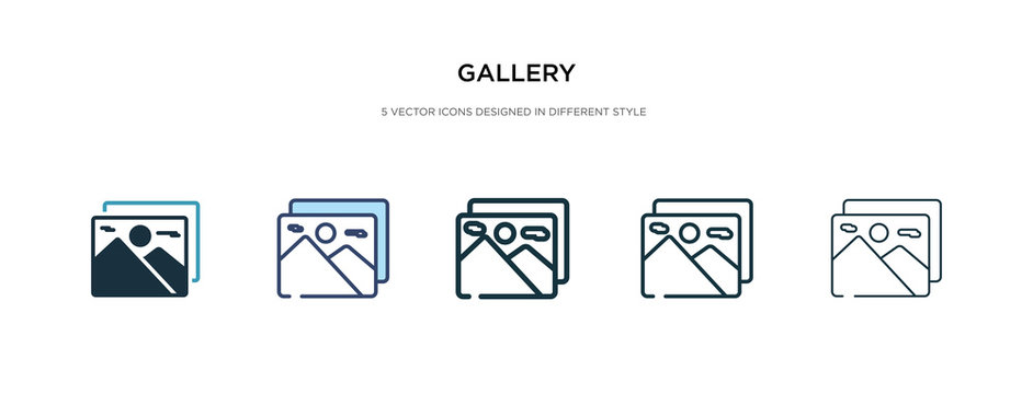 gallery icon in different style vector illustration. two colored and black gallery vector icons designed in filled, outline, line and stroke style can be used for web, mobile, ui