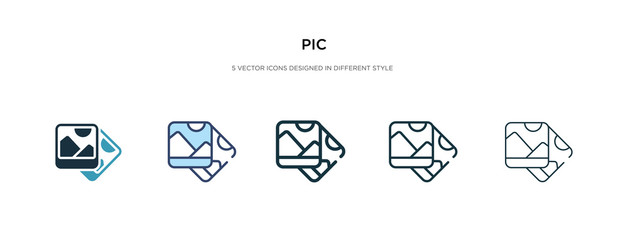 pic icon in different style vector illustration. two colored and black pic vector icons designed in filled, outline, line and stroke style can be used for web, mobile, ui