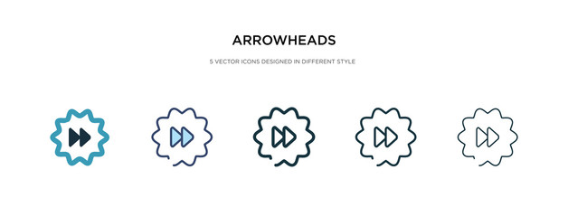 arrowheads icon in different style vector illustration. two colored and black arrowheads vector icons designed in filled, outline, line and stroke style can be used for web, mobile, ui
