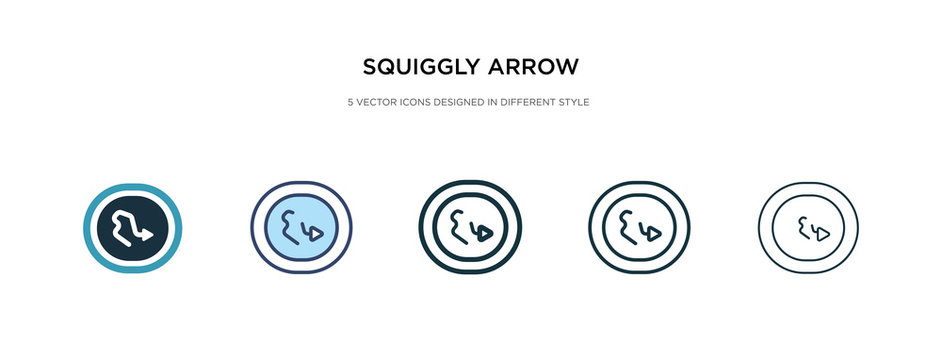 squiggly arrow icon in different style vector illustration. two colored and black squiggly arrow vector icons designed in filled, outline, line and stroke style can be used for web, mobile, ui
