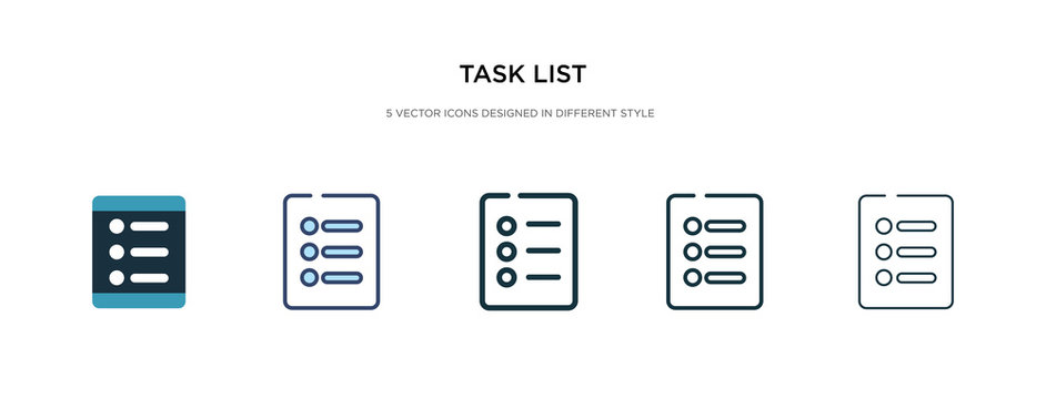 task list icon in different style vector illustration. two colored and black task list vector icons designed in filled, outline, line and stroke style can be used for web, mobile, ui