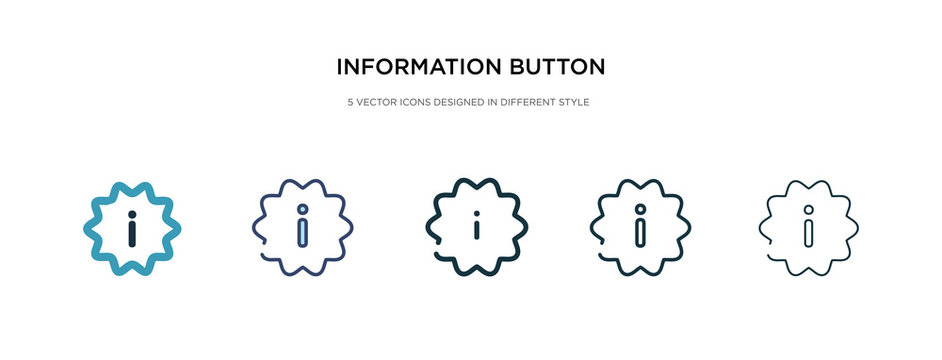 information button icon in different style vector illustration. two colored and black information button vector icons designed in filled, outline, line and stroke style can be used for web, mobile,
