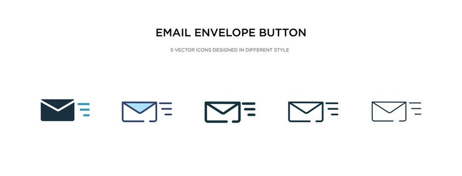 email envelope button icon in different style vector illustration. two colored and black email envelope button vector icons designed in filled, outline, line and stroke style can be used for web,