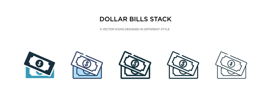 dollar bills stack icon in different style vector illustration. two colored and black dollar bills stack vector icons designed in filled, outline, line and stroke style can be used for web, mobile,