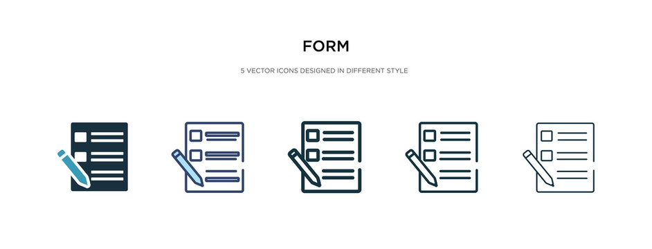 form icon in different style vector illustration. two colored and black form vector icons designed in filled, outline, line and stroke style can be used for web, mobile, ui