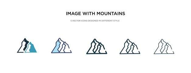 image with mountains icon in different style vector illustration. two colored and black image with mountains vector icons designed in filled, outline, line and stroke style can be used for web,