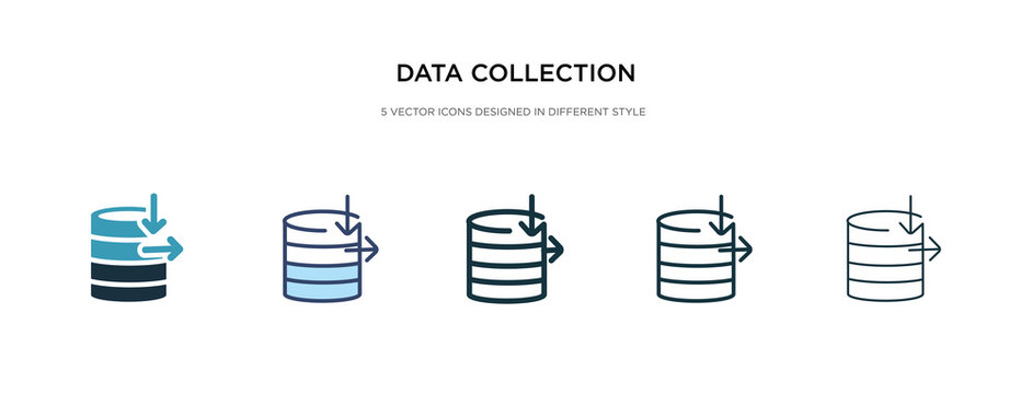 data collection icon in different style vector illustration. two colored and black data collection vector icons designed in filled, outline, line and stroke style can be used for web, mobile, ui
