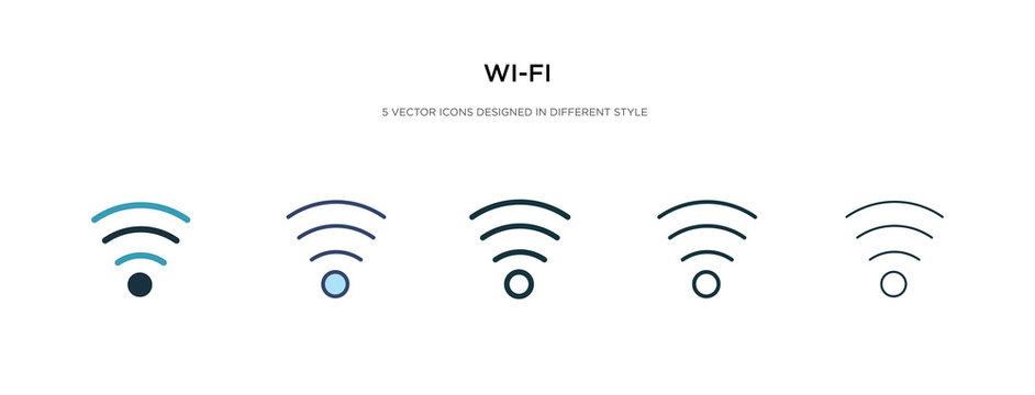 wi-fi icon in different style vector illustration. two colored and black wi-fi vector icons designed in filled, outline, line and stroke style can be used for web, mobile, ui