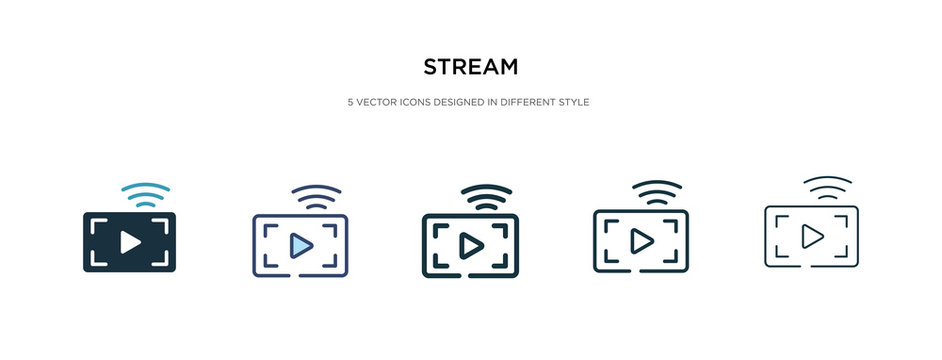 stream icon in different style vector illustration. two colored and black stream vector icons designed in filled, outline, line and stroke style can be used for web, mobile, ui