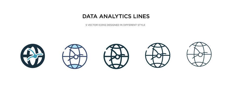 data analytics lines on spherical grid icon in different style vector illustration. two colored and black data analytics lines on spherical grid vector icons designed in filled, outline, line and