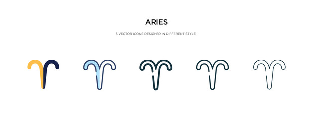 aries icon in different style vector illustration. two colored and black aries vector icons designed in filled, outline, line and stroke style can be used for web, mobile, ui