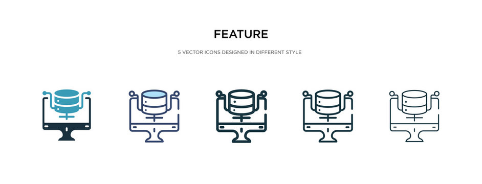 feature icon in different style vector illustration. two colored and black feature vector icons designed in filled, outline, line and stroke style can be used for web, mobile, ui