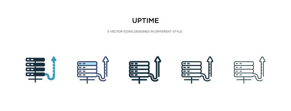 uptime icon in different style vector illustration. two colored and black uptime vector icons designed in filled, outline, line and stroke style can be used for web, mobile, ui
