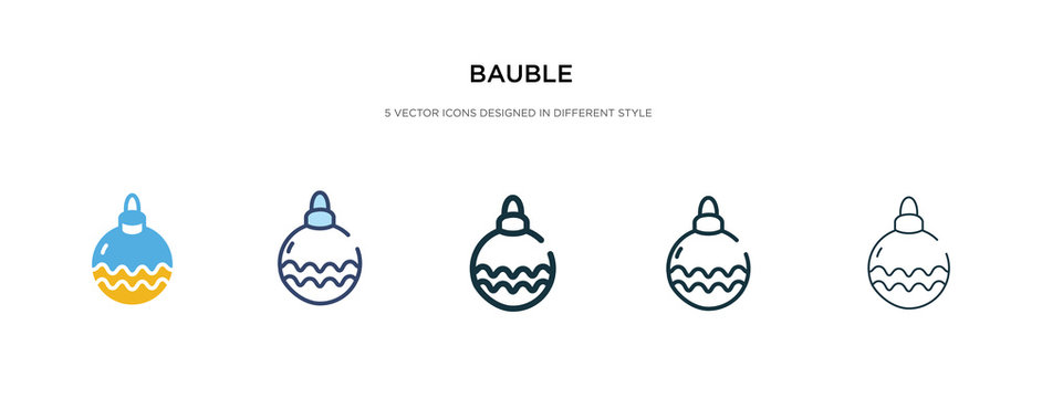 bauble icon in different style vector illustration. two colored and black bauble vector icons designed in filled, outline, line and stroke style can be used for web, mobile, ui