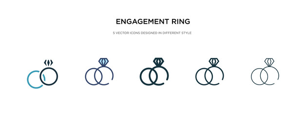 engagement ring icon in different style vector illustration. two colored and black engagement ring vector icons designed in filled, outline, line and stroke style can be used for web, mobile, ui