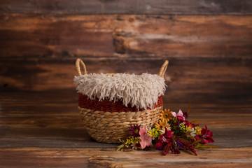 Newborn Digital Background Fall Wood Basket