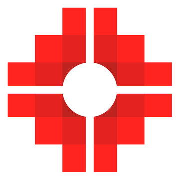 Chakana, Andean square cross, the most important symbol of Andean culture on white background. Vector image