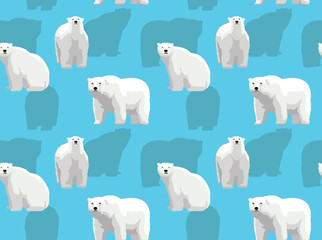 Realistic Cartoon Polar Bear Vector Seamless Background Wallpaper