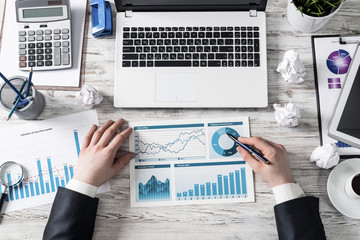 Businessman working with financial reports