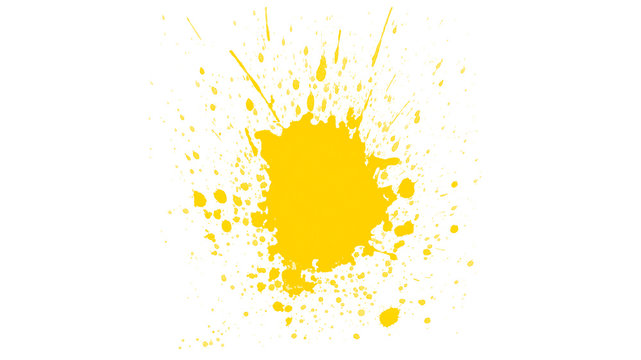 Abstract yellow paint splash isolated on white background