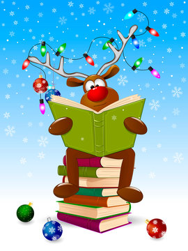Reindeer reading a books for Christmas. Cartoon deer reads a book for Christmas. A deer with a book and with Christmas decorations on a winter background. A deer is sitting on a stack of books