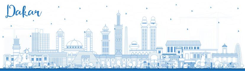 Outline Dakar Senegal City Skyline with Blue Buildings.