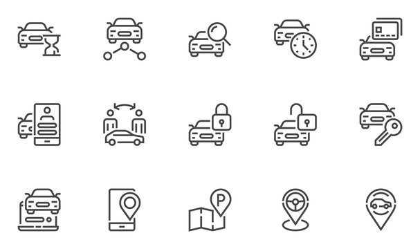 Car sharing vector line icons set. Collaborative consumption, car rental service. Editable stroke. 48x48 Pixel Perfect.