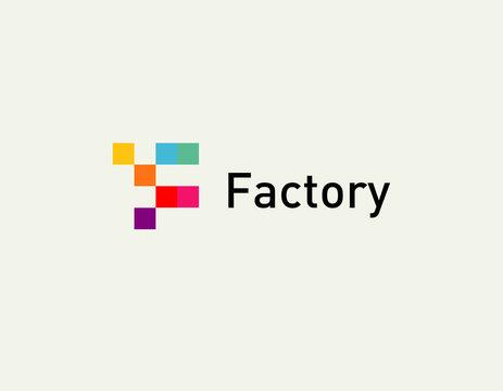 Bright multicolored logo geometric shape letter F for company