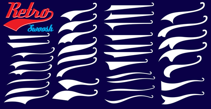 Vector set of texting tails. Sport logo typography vector elements. Swirl swash stroke design, curl typographic illustration