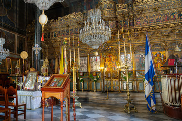 Decorative interior of beautiful Greek Orthodox church.