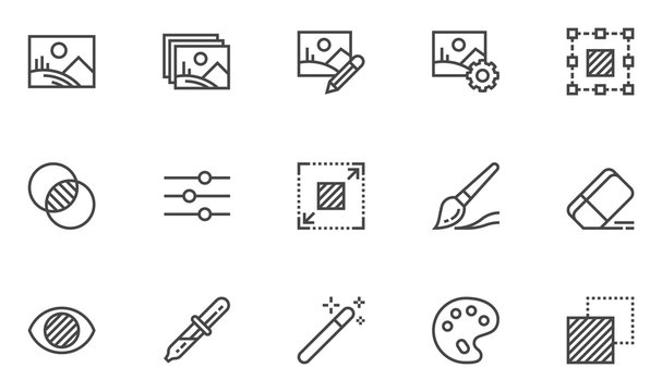 Photo editing vector line icons set. Image editing, brightness, filter. Editable stroke. 48x48 Pixel Perfect.
