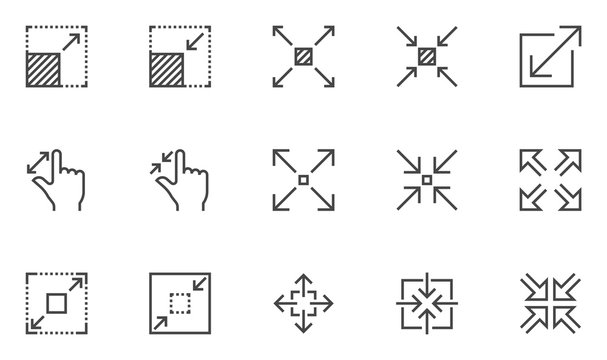 Resize vector line icons set. Scaling, increase, decrease. Editable stroke. 48x48 Pixel Perfect.
