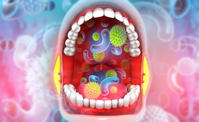 Virus, bacterial  in human mouth. 3d illustration.
