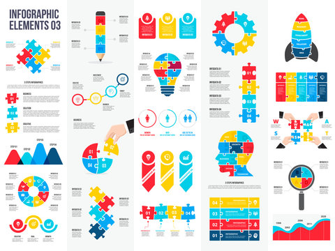 Big set of puzzle infographic elements. Can be used for steps, business processes, workflow, diagram, flowchart concept and timeline. Data visualization vector design template.