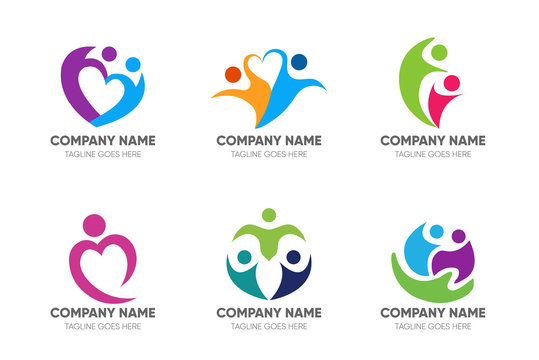 set of abstract people care logo