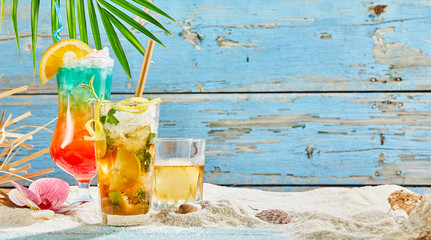 Tropical cocktails in beach decorations