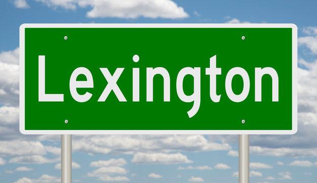 Rendering of a green 3d road sign for Lexington Kentucky