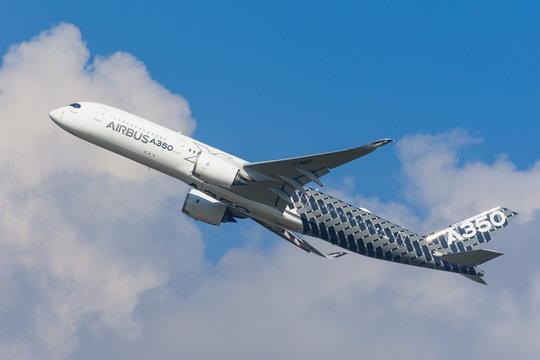 Airbus a350-900 XWB show flights. Russia, Moscow region Zhukovsky, airport Ramenskoe. Aviasalon MAKS 2019. 31 august 2019.